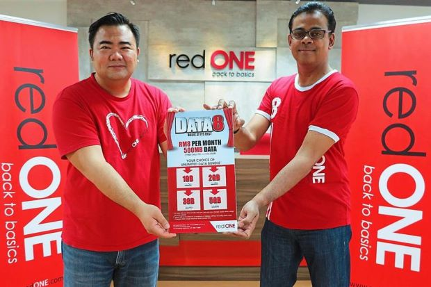 Budget-friendly data plan for all - Ameen (right) and Teh say redONE's Data8 postpaid data plan revolves around the concept of 'basic at its best'.